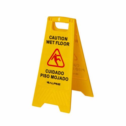 "Alpine Industries 24"" yellow bilingual 2-sided wet floor sign ALP499"