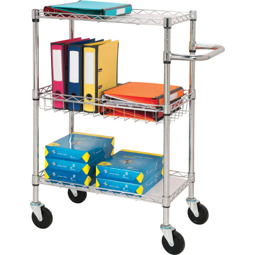 Lorell 84859 Stainless Steel 3-Tier Utility Cart, Chrome