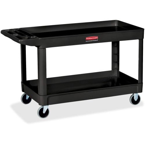 """Rubbermaid Commercial 2-Shelf Utility Cart, Four 4"""" Casters, Black"""