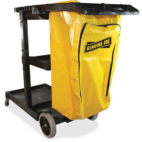 Genuine Joe Workhorse Janitor's Cart With Zippered Vinyl Bag , Yellow