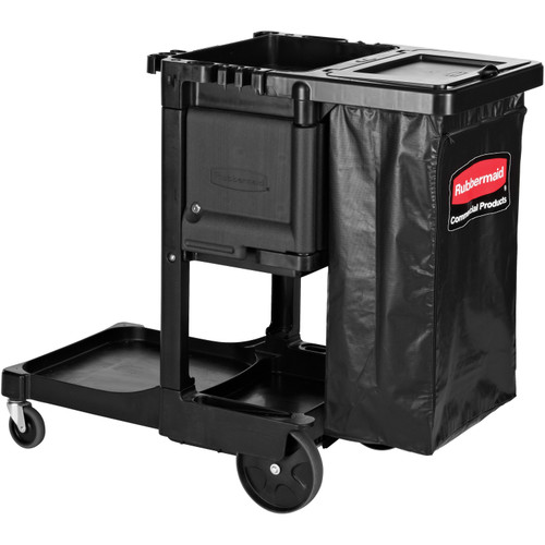 Rubbermaid 3-Shelf Executive Janitor Cleaning Cart, Black