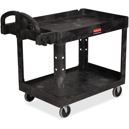 Rubbermaid 452088BK Medium 2-Shelf Utility Cart with Lipped Shelf, Black