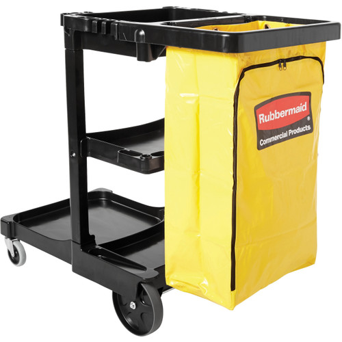 Rubbermaid® 3-Shelf Black Janitor Cleaning Cart With Zipper Yellow Vinyl Bag