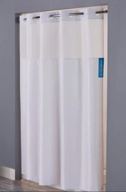Hookless Mystery Windowed Shower Curtain, White