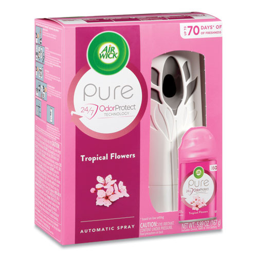 Air Wick Freshmatic Ultra Automatic Pure Starter Kit, White, Tropical Flowers