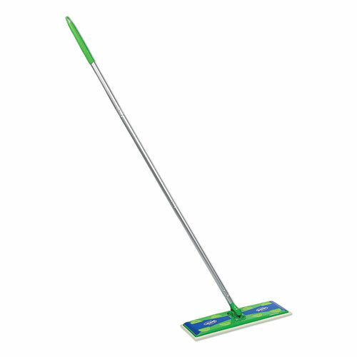 "Sweeper Mop, 17"" x 5"" White Cloth Head, 46"" Green/Silver Aluminum/Plastic Handle"