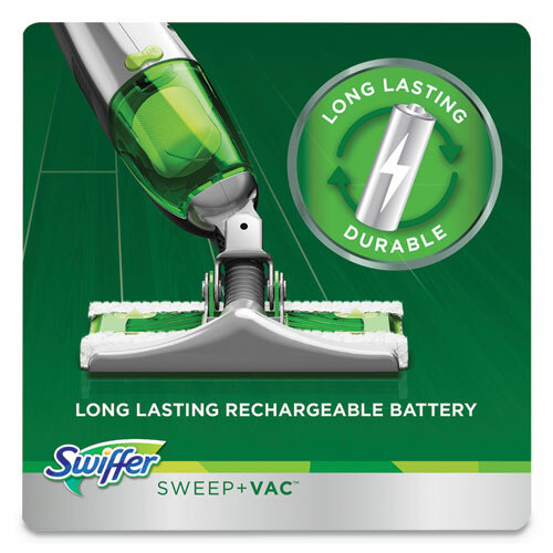 """Swiffer SweeperVac Starter Kit with 8 Dry Cloths, 10"""" Cleaning Path, Green/Silver"""