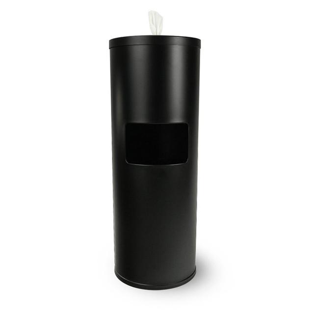 Zogics Black Powder Coated Gym Wipes Floor Dispenser with Door