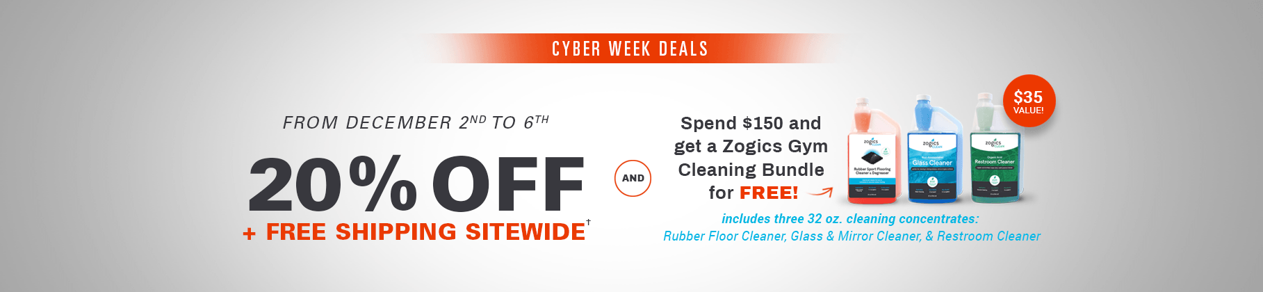 20% off plus Free Shipping sitewide - Zogics Cyber Week Deals