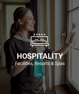 Commercial cleaning and disinfecting products for the hospitality industry