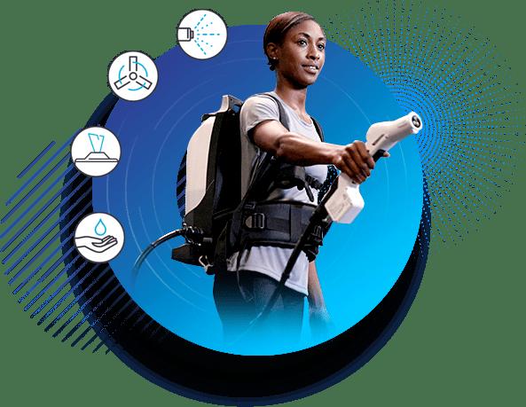 Woman using Protexus Electrostatic Backpack Sprayer