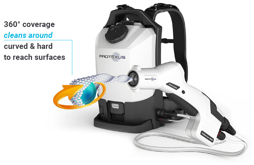 The Protexus Backpack Sprayer cleans around curved and hard to reach surfaces
