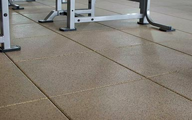 Tan rubber flooring tiles from Zogics.