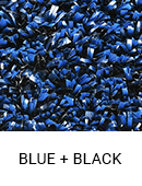 Blue with Black color sample of Zogics gym turf flooring.