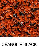 Orange with Black color sample of Zogics gym turf flooring.