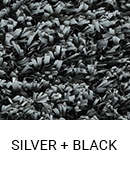 Silver with Black color sample of Zogics gym turf flooring.