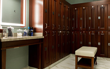 Zogics Club Wood Lockers with grooming station