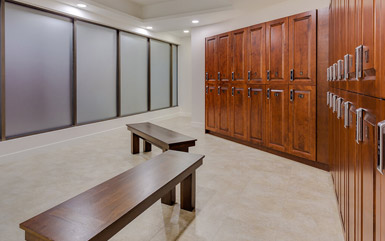 Zogics Club Wood Lockers angled with benches