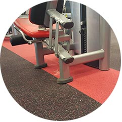 Black and red commercial gym flooring from Zogics