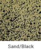 Sand and Black color sample of Zogics gym turf flooring.