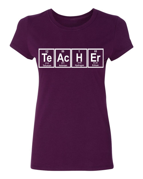Teacher periodic table Ladies T-Shirt, maroon
