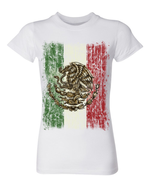Mexican Flag Ladies T-Shirt, white