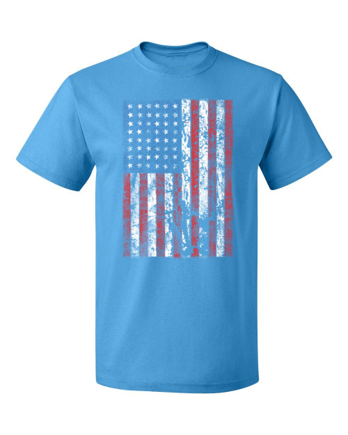 American Flag T-Shirt, pacific blue