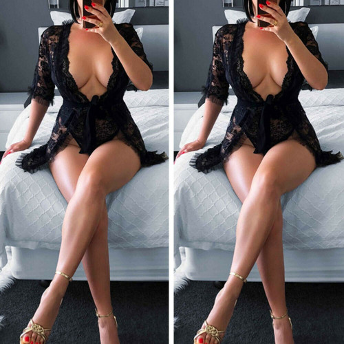 Ladies Black Lace Robe