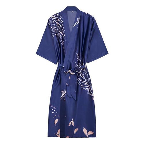 Navy Blue Rayon Women Robe Kimono