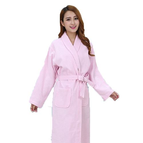 Waffle women bathrobes cotton sleepwear