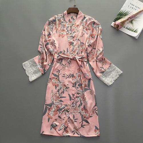 Women's Robe Silk Satin Floral Print Short