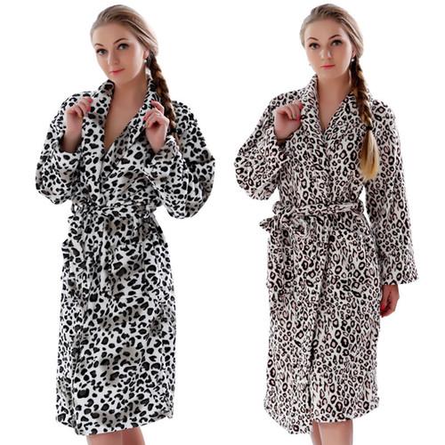 Leopard Coral Fleece Warm Bathrobe Nightwear