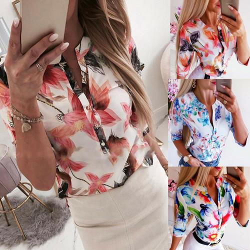 Summer Women 3/4 Sleeve Floral Ls oose Blouse