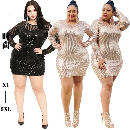 Plus Size 4xl 5xl Women Sequin Sheer Dress
