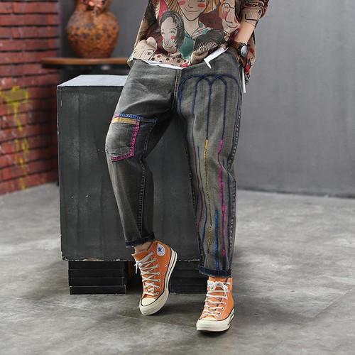 Elastic Waist Cartoon Embroidery Cotton Denim Pants