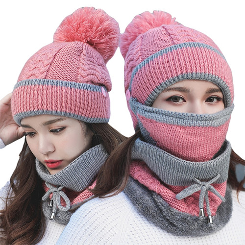 Beanie Hat Riding Hat Female Warm knitted Wool Cap