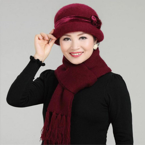 New Fashion Women Winter Hat Sets Floral Skullies