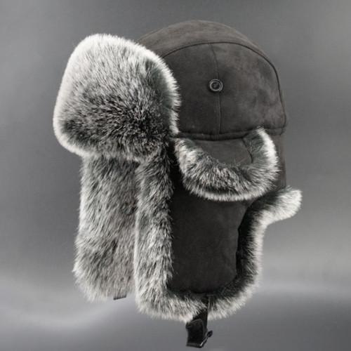 Vintage Suede Bomber Hats Winter Men's Trapper Hat