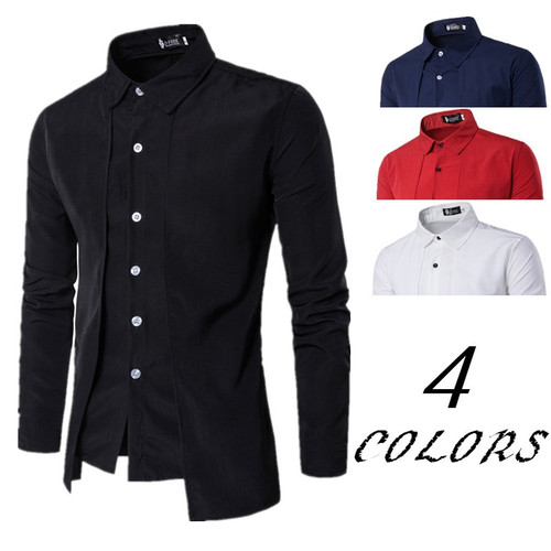 Solid Black Red Shirts for Man clothes