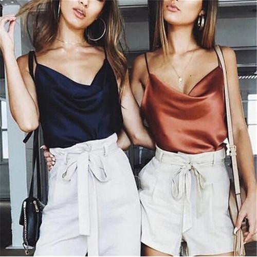 Satin Women Thin Wild Solid Camis