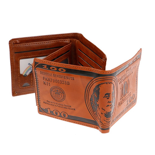 US Dollar Bill Wallet Brown Leather