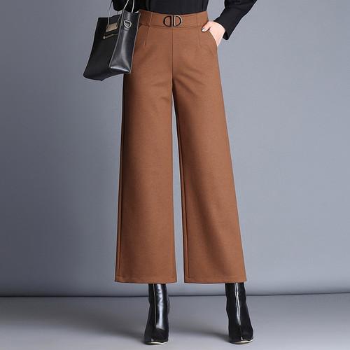 high waist casual pants brown black