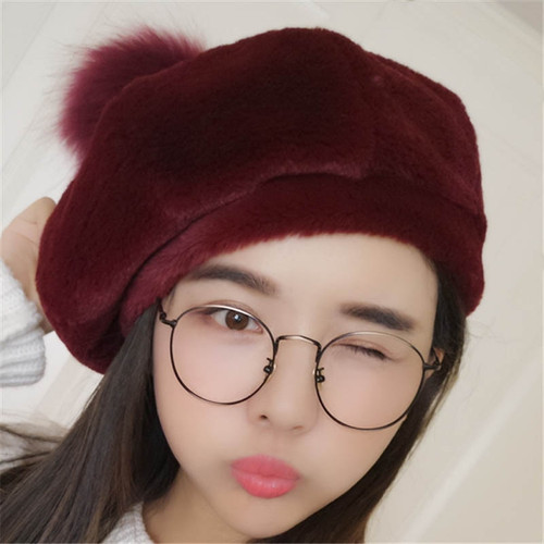Women Hat Winter Octagonal Beret
