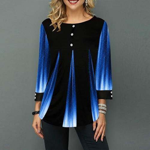 Top Blouse Button Female Clothing