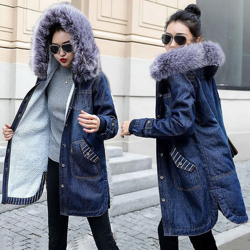 Wool lining Long jackets women Jean Coat