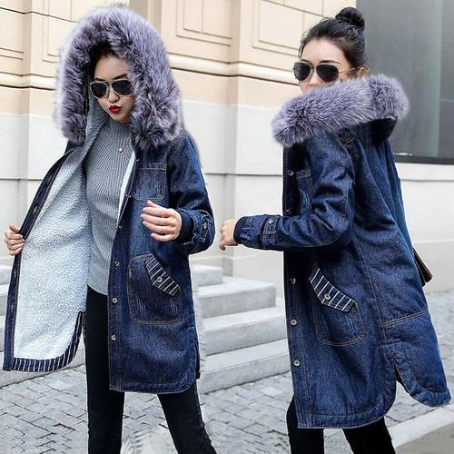 Wool lining Long jackets women Jean Coat