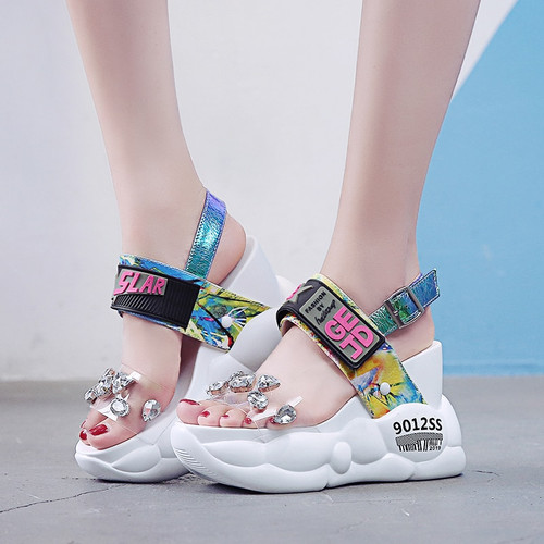 Sandal Rhinestone High Heels Chunky Platform Shoes Woman