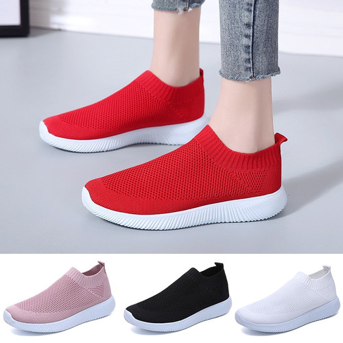 Woman Red White Sports Shoes Wa'lking