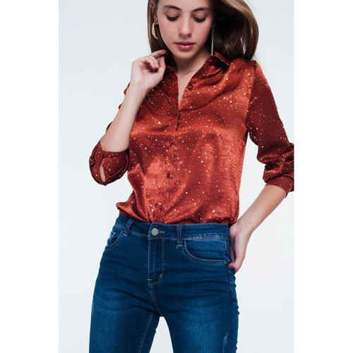 KJ Orange Long Sleeve Blouse in Gold Spot