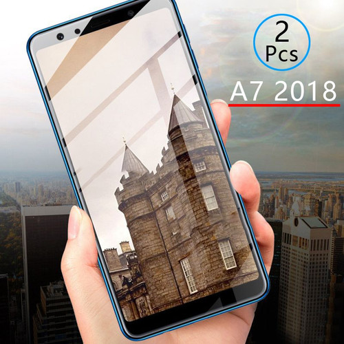 2pcs Protective Glass For Samsung A7 2018 Tempered Glass Screen Protector Full Cover Safety Tremp On Galaxy A 7 7a A72018 A750
